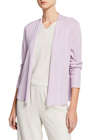 Eileen Fisher Petite Open-Front Long-Sleeve Shaped Organic Linen Cardigan