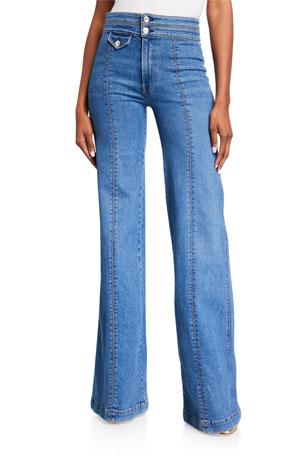 Veronica Beard Jeans Ember Wide-Leg Jeans w/ Contrast Seams