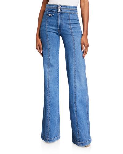 Ember Wide-Leg Jeans w/ Contrast Seams