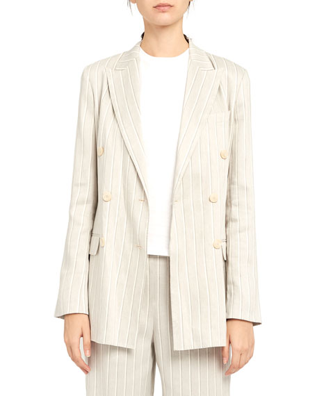 Image 3 of 5: Theory Striped Double-Breasted Tailored Linen Jacket