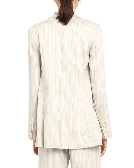 Image 4 of 5: Theory Striped Double-Breasted Tailored Linen Jacket