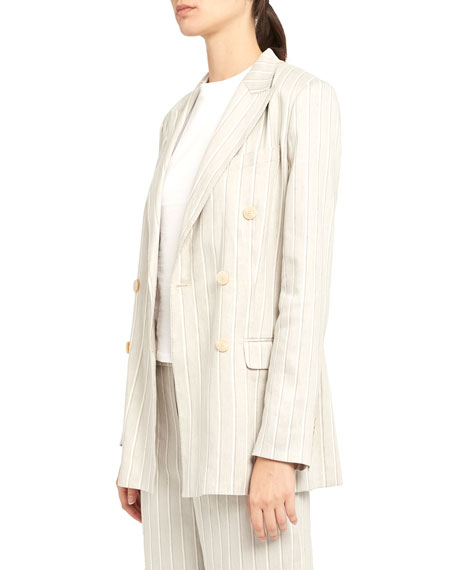 Image 5 of 5: Theory Striped Double-Breasted Tailored Linen Jacket