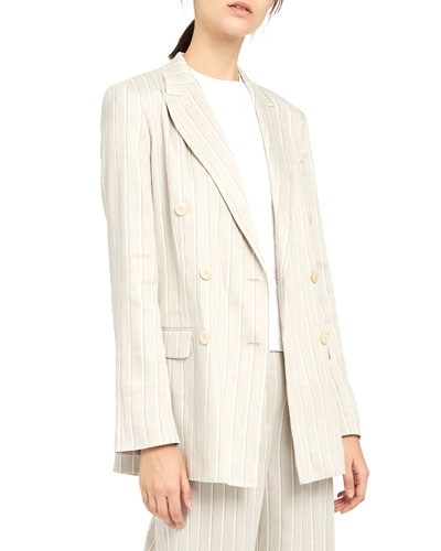 Striped Double-Breasted Tailored Linen Jacket