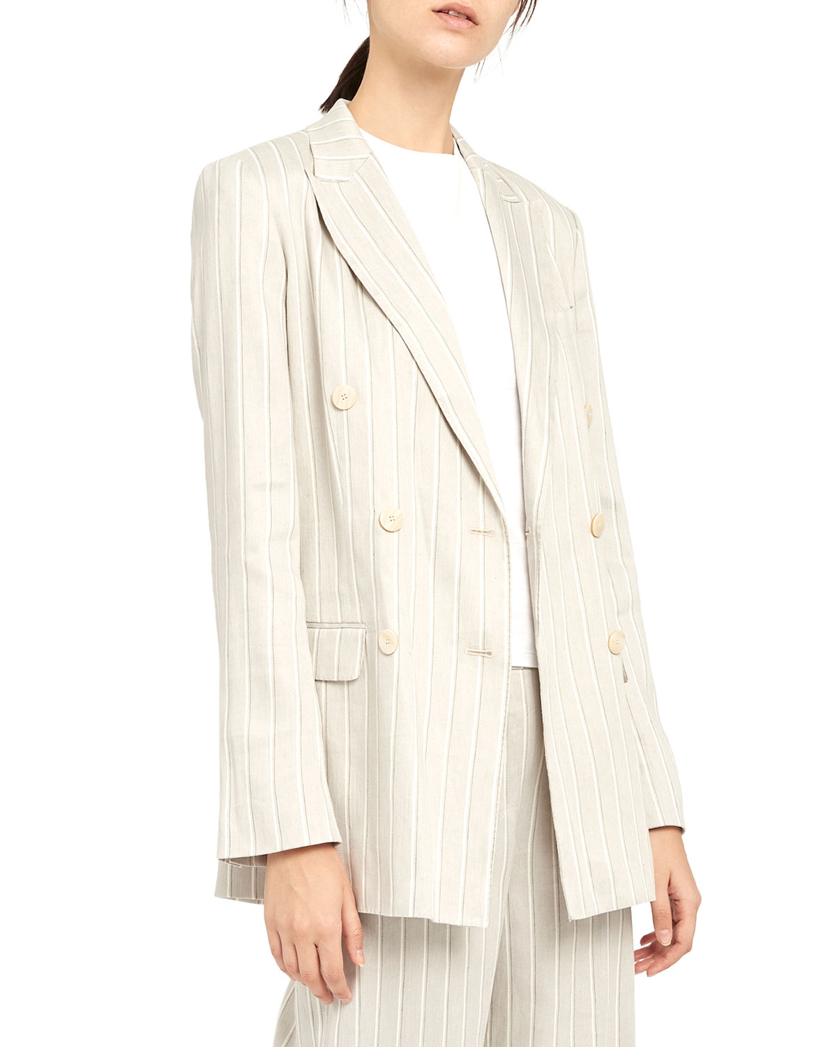 Theory Striped Double-Breasted Tailored Linen Jacket