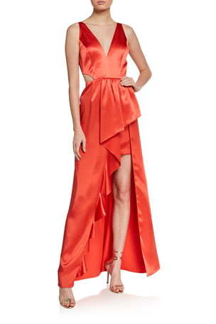 Aidan by Aidan Mattox Sleeveless Cutout High-Low Satin Flounce Gown