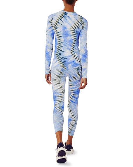 Tory Sport Tie-Dye Seamless Long-Sleeve Top