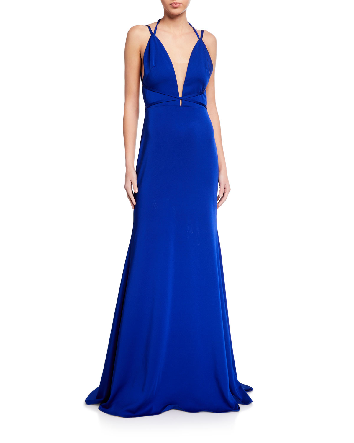 Love  Theia Low V-Neck Open-Back Fitted Crepe Gown