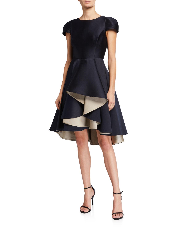 Halston Double Face Satin Twill Dramatic Skirt Dress