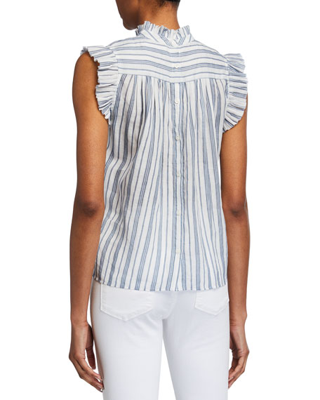 Image 3 of 3: FRAME Striped Sleeveless Ruffle Top