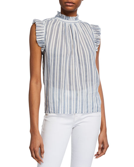 Image 1 of 3: FRAME Striped Sleeveless Ruffle Top