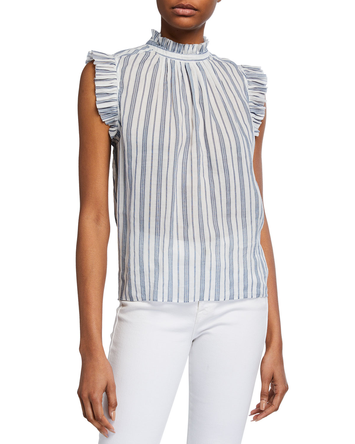 FRAME Striped Sleeveless Ruffle Top