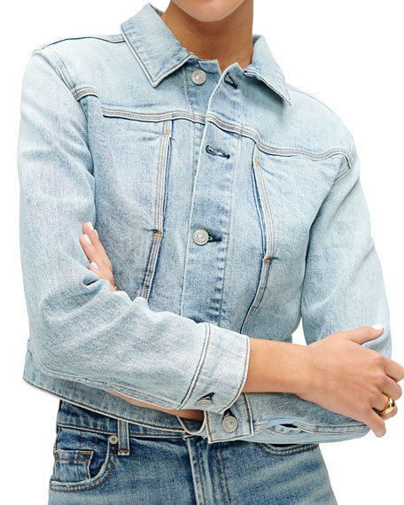 Image 3 of 3: 7 for all mankind Cotton-Cashmere Triple-Needle Denim Jacket