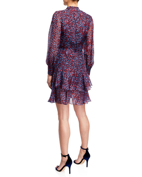 Shoshanna Cynthia Sofia Heart Print Tie-Neck Long-Sleeve Ruffle Dress