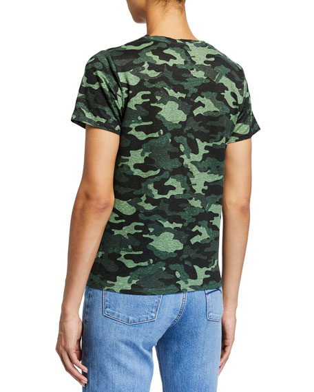 Majestic Filatures Camo Stretch-Linen Semi-Relaxed V-Neck Tee