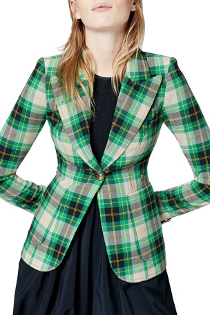 Smythe Duchess Plaid Patch Pocket Blazer