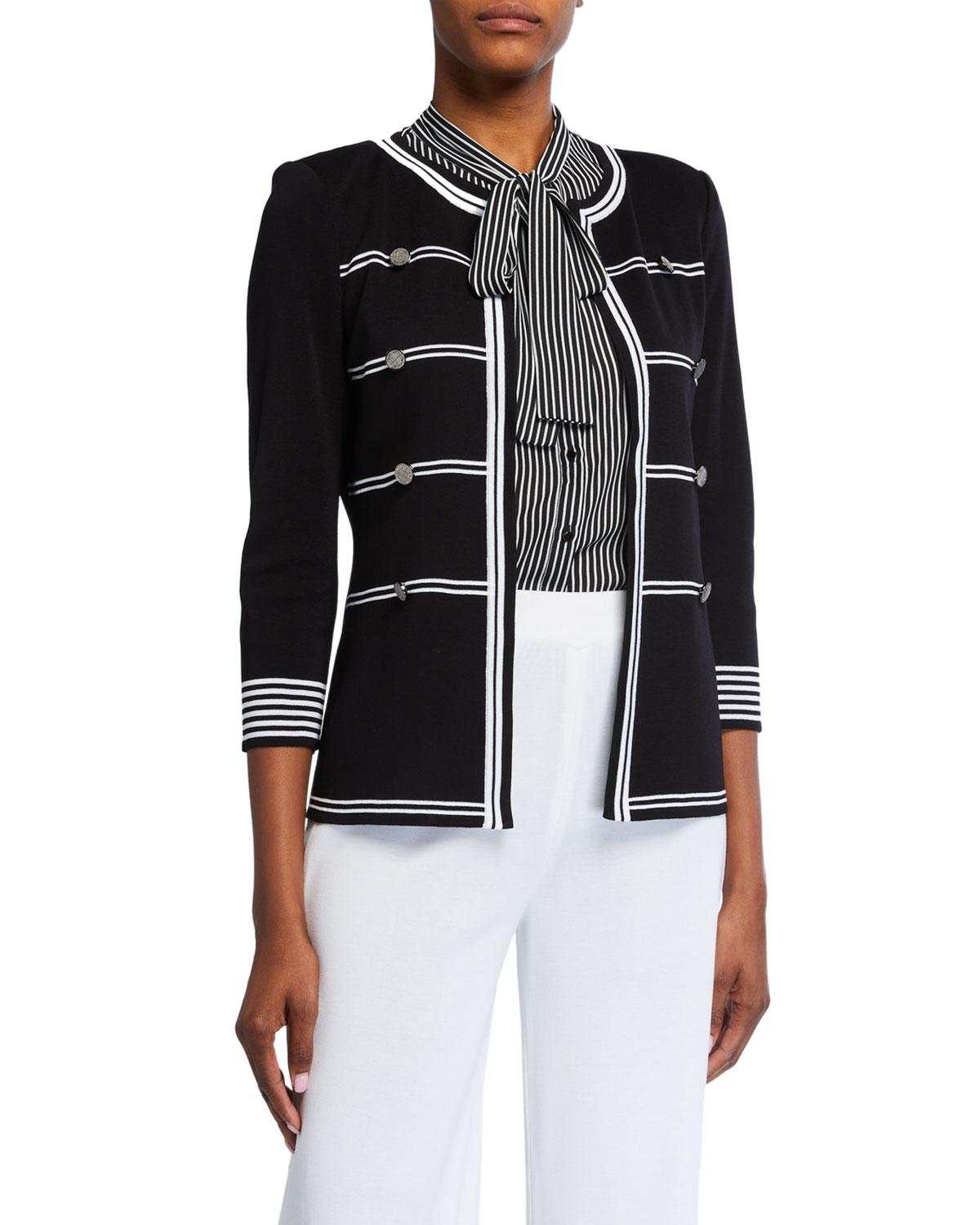 Misook Petite Stripe Detail 3/4-Sleeve Jacket