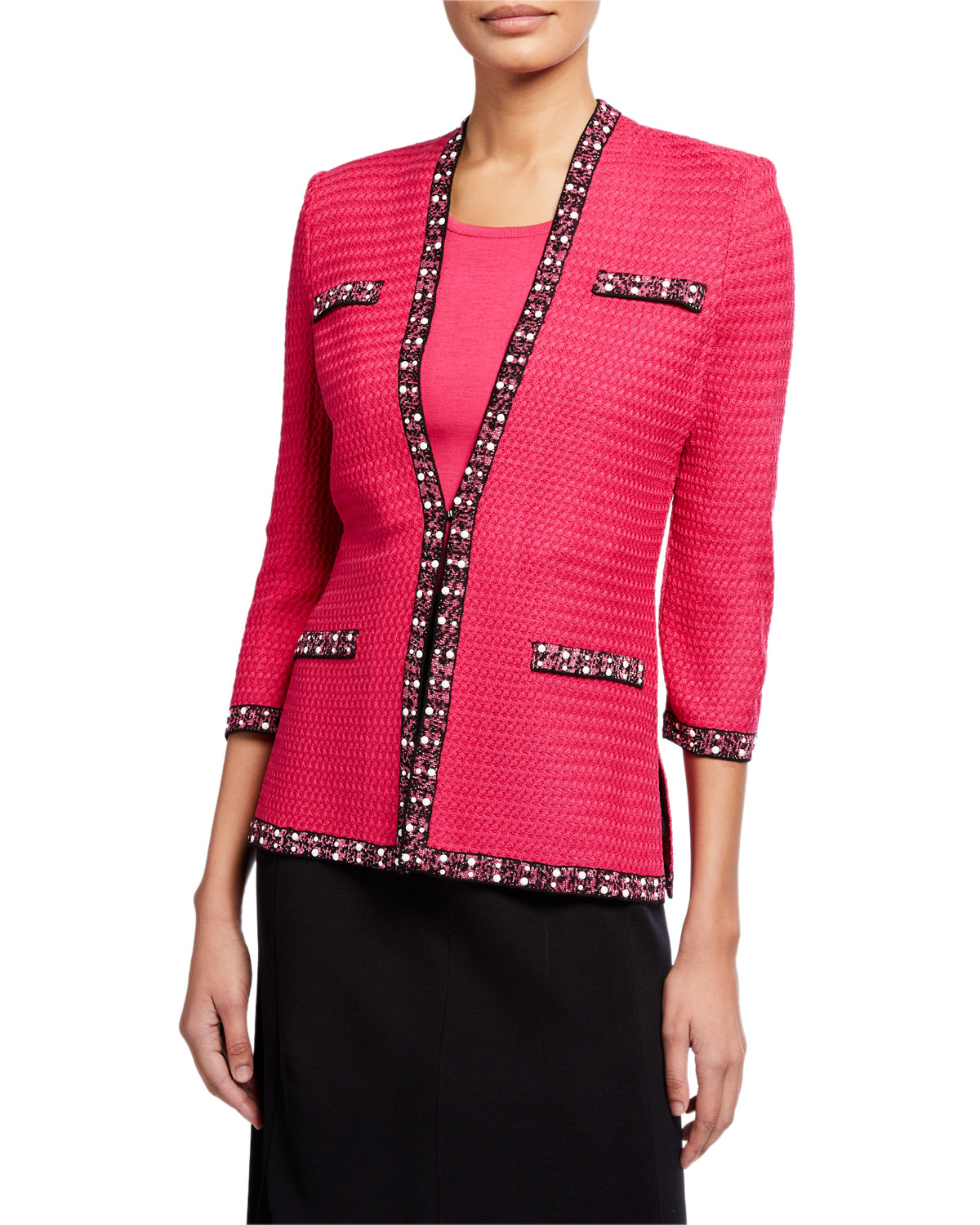 Misook Plus Size 3/4-Sleeve Tweed Trim Jacket