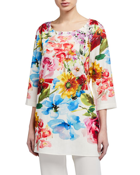 Image 1 of 3: Caroline Rose Petite Flirty Floral 3/4-Sleeve Printed Linen Tunic
