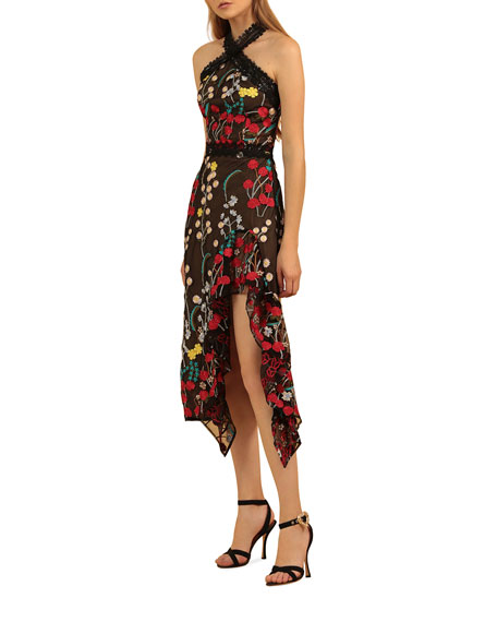 Image 2 of 3: Bronx and Banco Ivana Embroidered Side-Ruffle Halter Dress