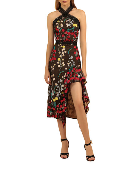 Image 1 of 3: Bronx and Banco Ivana Embroidered Side-Ruffle Halter Dress