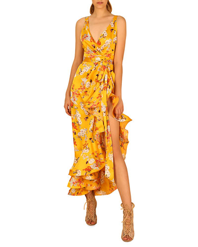 Narciss Floral High-Low Ruffle Maxi Dress