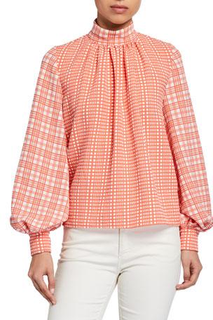 Stine Goya Eddy Gingham Blouson-Sleeve Shirt