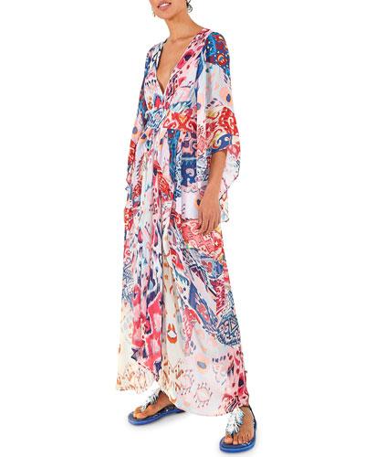 Ikat Printed Maxi Dress