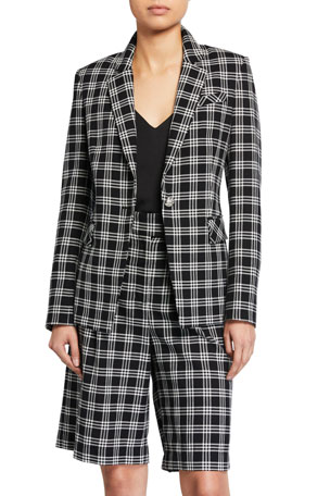 Coolred-Women Lace up Detail Notch Collar Striped Blazer with Short Pants