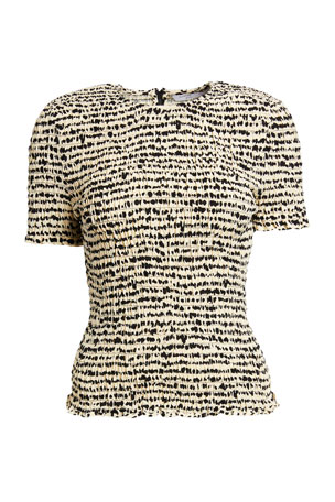 Proenza Schouler White Label Printed Georgette Short-Sleeve Smocked Top