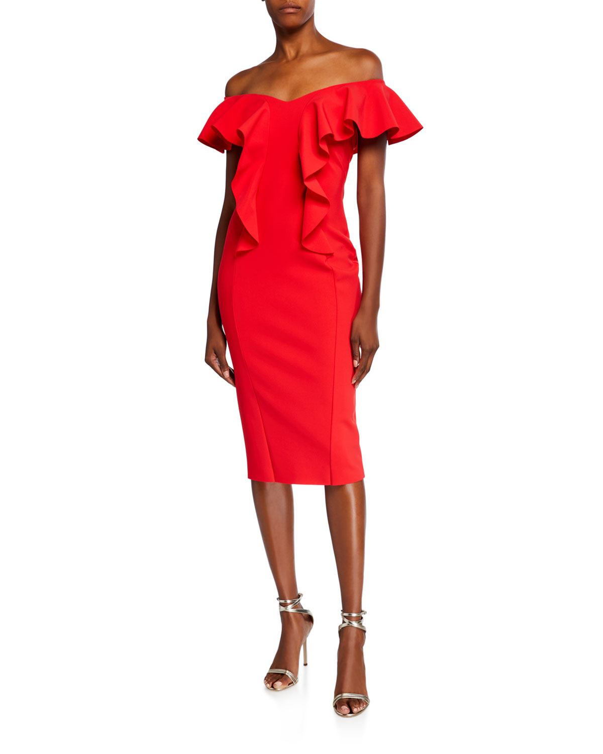 Chiara Boni La Petite Robe Off-the-Shoulder Ruffle Detail Sheath Dress