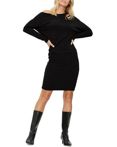 Heather Off-Shoulder Dolman-Sleeve Dress