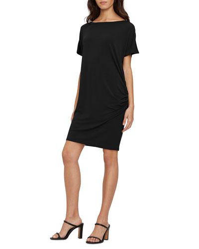 Monroe Boat-Neck Dress W/Shirring