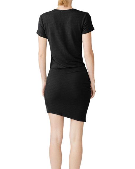Monrow Super-Soft Short-Sleeve V-Neck Dress with Tie