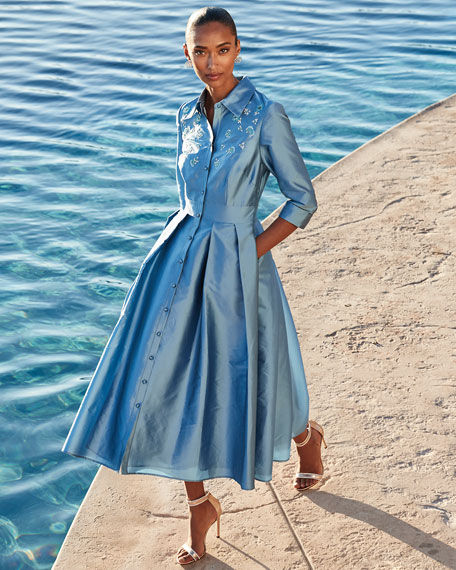 Image 2 of 3: Carmen Marc Valvo Infusion Embroidered Taffeta Shirtdress