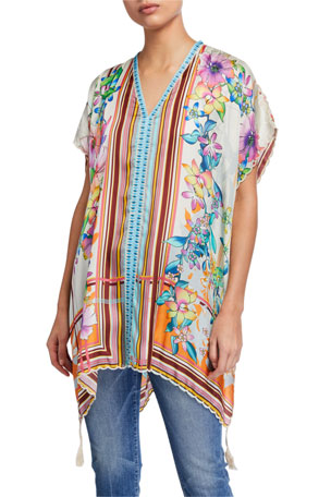 Johnny Was Stellar Printed Short-Sleeve Poncho Top w/ Tassels