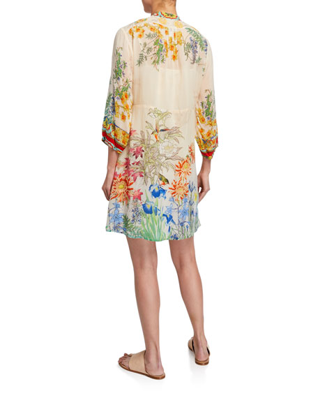 Johnny Was Plus Size Wysteria Floral-Print 3/4-Sleeve Dress with Slip