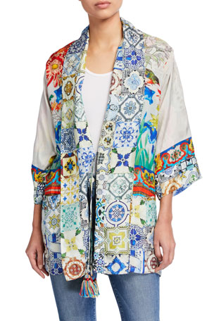 Johnny Was Cassie Printed Silk Reversible Kimono