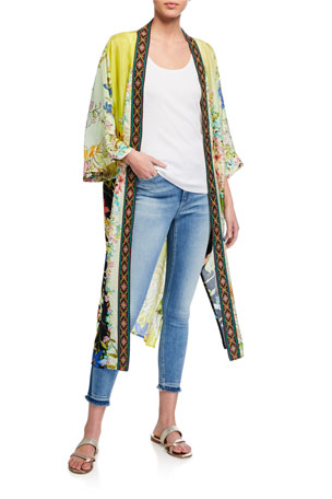 Johnny Was Tawney Long Printed Silk Kimono