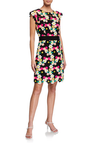 Milly Leila Floral Crochet Dress