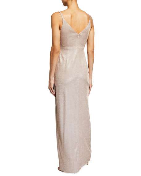 Aidan by Aidan Mattox Metallic Sparkle Knit Twist-Front Sleeveless Gown