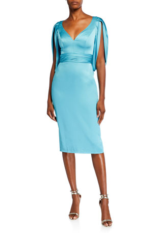 Theia V-Neck Cocoon-Sleeve Satin Dress