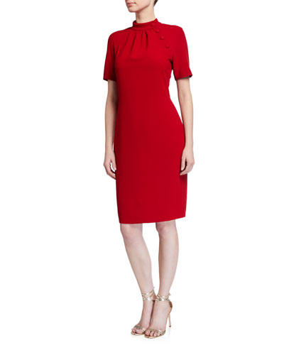 Mock-Neck Sheath Dress with Buttons