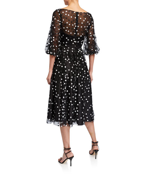Carmen Marc Valvo Infusion Dotted Tulle Puff-Sleeve Dress