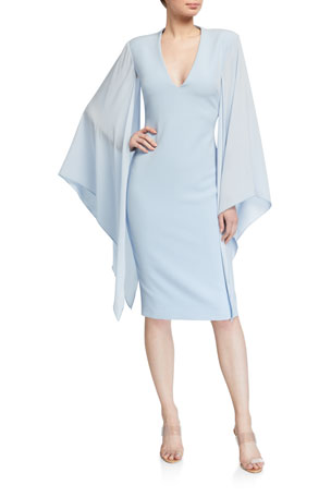Badgley Mischka Collection Georgette Sleeve Crepe Sheath Dress