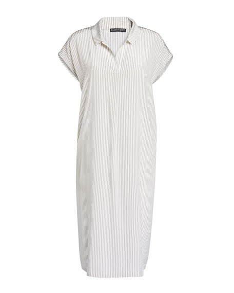 Image 2 of 2: Eileen Fisher Striped Silk Crepe De Chine Dress