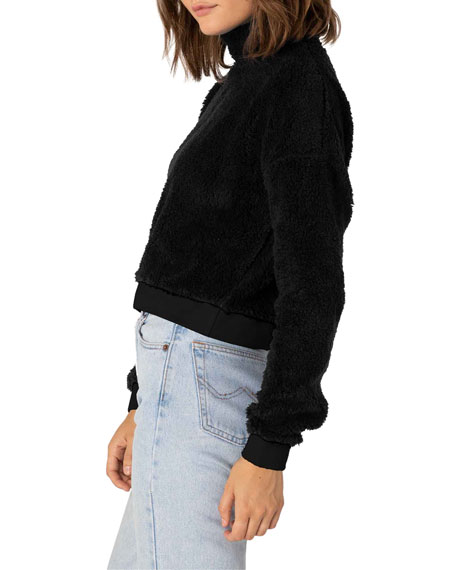 Image 3 of 4: Beyond Yoga Cropped Sherpa Pullover