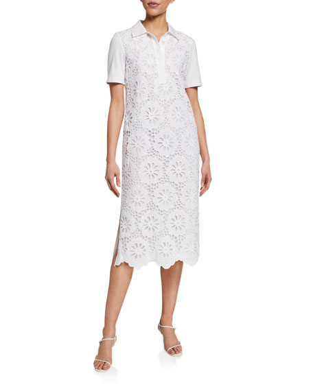 Image 3 of 3: Tory Burch Lace Front Short-Sleeve Poplin Polo Dress