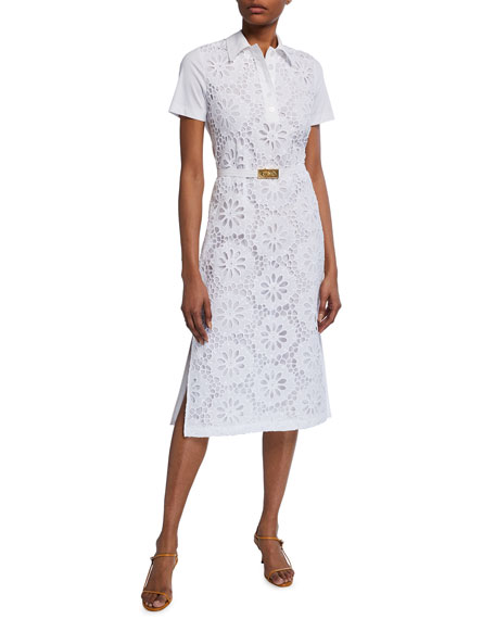 Image 1 of 3: Tory Burch Lace Front Short-Sleeve Poplin Polo Dress