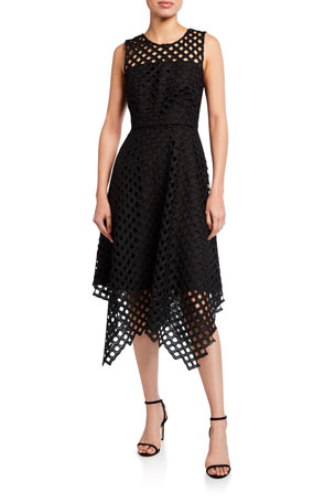 Milly Annemarie Lattice Embroidered Handkerchief Dress