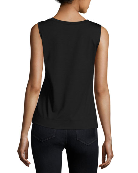 Image 2 of 2: Lafayette 148 New York Stretch Cotton Scoop Neck Tank